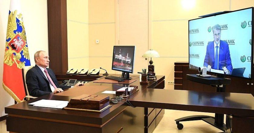 Встреча с председателем правления Сбербанка Германом Грефом (в режиме видеоконференции). Фото: kremlin.ru