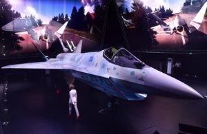 Прототип нового легкого многоцелевого однодвигательного истребителя пятого поколения в павильоне Chekmate на выставке Международного авиационно-космического салона МАКС-2021. Алексей Майшев / РИА Новости
